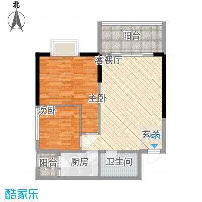 南峰国际二期户型图住宅户型单张D 2室2厅1卫