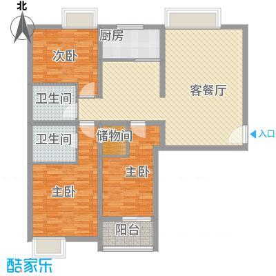 金东中环城户型图5#楼F户型 3室2厅2卫1厨