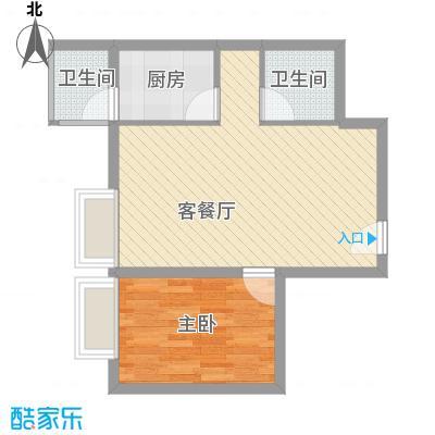 金东中环城户型图5#楼B户型 1室2厅1卫1厨