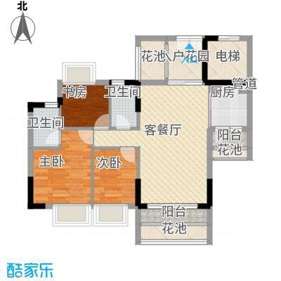 东海国际花园91.00㎡东海国际花园户型图3区9座013室2厅2卫1厨户型3室2厅2卫1厨