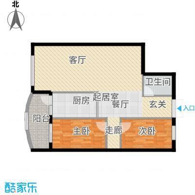 中央经典91.56㎡套型B户型2室1厅2卫1厨
