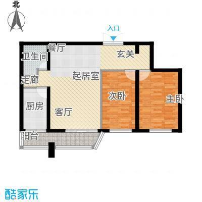 中央经典84.50㎡套型D户型2室1厅1卫1厨
