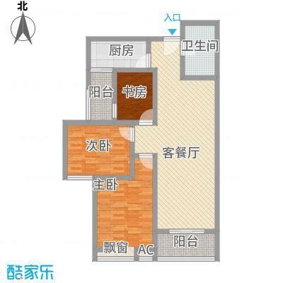 美林湾114.55㎡美林湾户型图三室两厅一卫3室2厅1卫1厨户型3室2厅1卫1厨