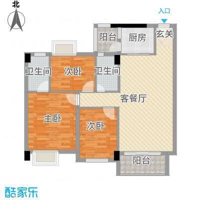 阳光新城89.00㎡阳光新城户型图3和5-6座01单元3室2厅2卫1厨户型3室2厅2卫1厨
