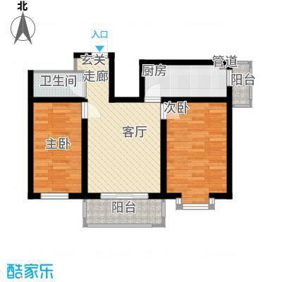 东一时区64.66㎡二室户型2室1厅1卫1厨