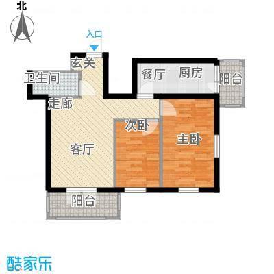 东一时区59.93㎡二室户型2室1厅1卫1厨