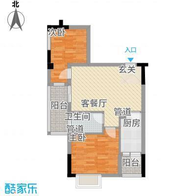 大步海滨花园三期户型图3号楼标准层02单元04户型 2室2厅1卫1厨