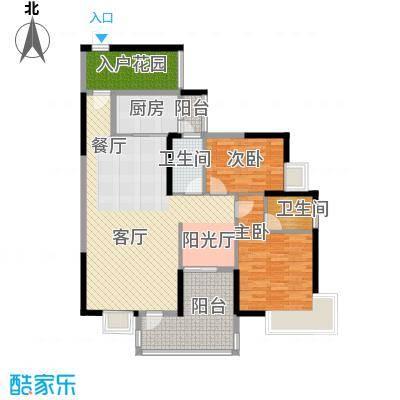 盈拓御江114.81㎡1号楼3、4号单位标准层户型2室1厅2卫1厨