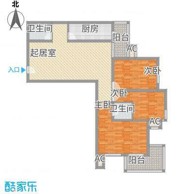金盛园户型图E户型 3室2厅2卫1厨