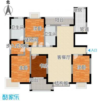 和美第179.03㎡和美第户型图E4室2厅2卫1厨户型4室2厅2卫1厨