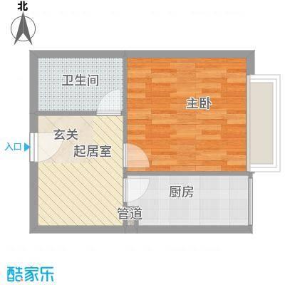 福佳国际公寓1室户型1室1厅1卫1厨