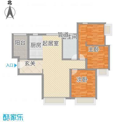 福佳国际公寓3室户型3室2厅1卫1厨