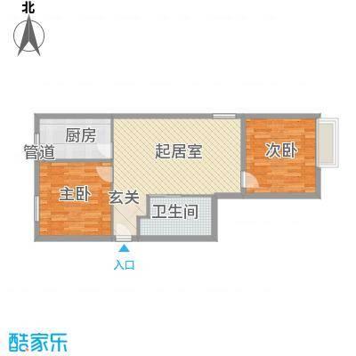 福佳国际公寓2室户型2室2厅1卫1厨