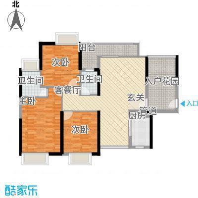 锦龙又一城二期君誉121.66㎡锦龙又一城户型图7、8栋201-2301、204-2304室B户型3室2厅2卫1厨户型3室2厅2卫1厨