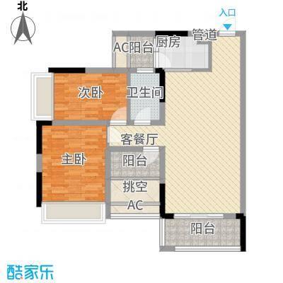 理想0769沁园78.00㎡理想0769沁园2室户型2室