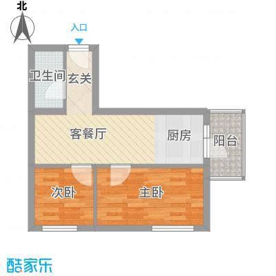 穆家新区45.02㎡两室一厅45.20㎡户型2室1厅1卫1厨