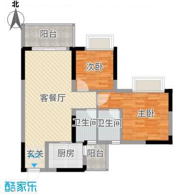 金田花园花域77.88㎡金田花园花域户型图19栋标准层B2户型两房两2室2厅2卫1厨户型2室2厅2卫1厨