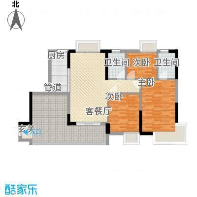 江南第一城106.00㎡江南第一城户型图90、91栋标准层05户型3室2厅2卫1厨户型3室2厅2卫1厨