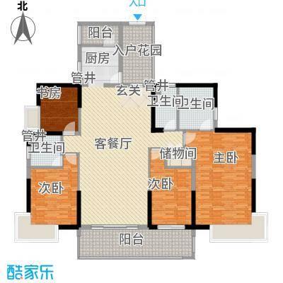 黄旗山1号179.90㎡黄旗山1号户型图1-2栋标准层B户型4室2厅3卫1厨户型4室2厅3卫1厨
