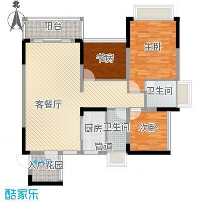 东逸湾花园105.00㎡东逸湾花园户型图2栋02户型3室2厅2卫1厨户型3室2厅2卫1厨
