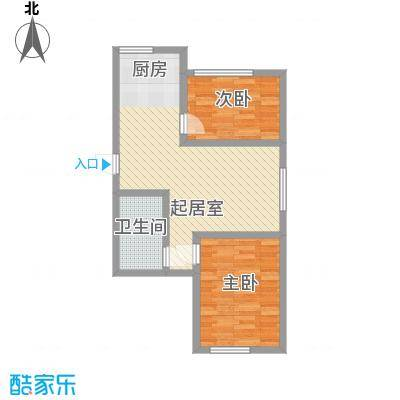 怡海花园75.00㎡户型2室2厅1卫1厨