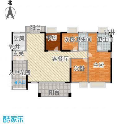 黄旗山1号187.00㎡黄旗山1号户型图1-2栋标准层C户型4室2厅2卫1厨户型4室2厅2卫1厨