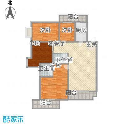 滨河绿洲192.00㎡滨河绿洲户型图户型(二)4室2厅2卫1厨户型4室2厅2卫1厨