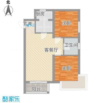 新希望乐城户型图5、6号楼D户型 2室2厅1卫1厨