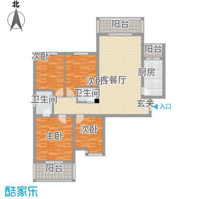 景都花苑户型图2#A-1户型 4室2厅2卫1厨