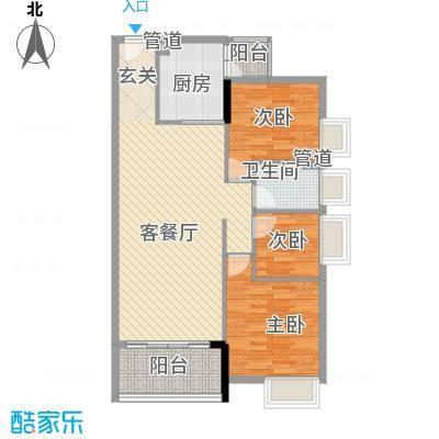 大步海滨花园三期户型图3号楼标准层01单元02户型 3室2厅1卫1厨