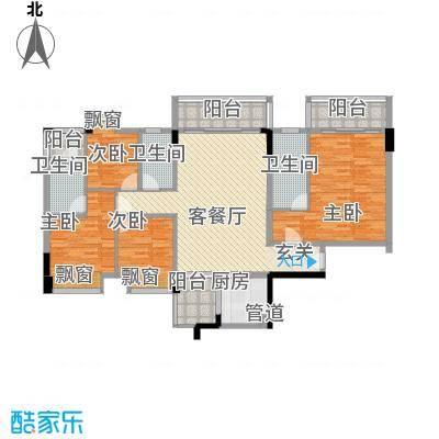 大步海滨花园三期户型图3号楼标准层01单元03户型 4室2厅3卫1厨