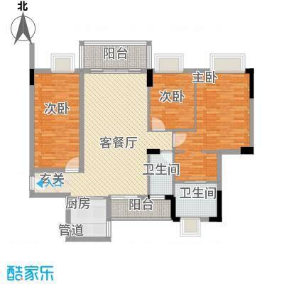 大步海滨花园三期户型图3号楼标准层01单元04户型 3室2厅2卫1厨