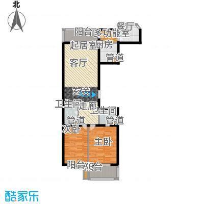 公园一品102.88㎡B户型102.88平方米户型2室1厅2卫1厨