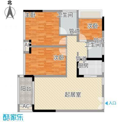 金地外滩8号92.86㎡金地外滩8号户型图6、7栋标准层01单位3室2厅2卫1厨户型3室2厅2卫1厨