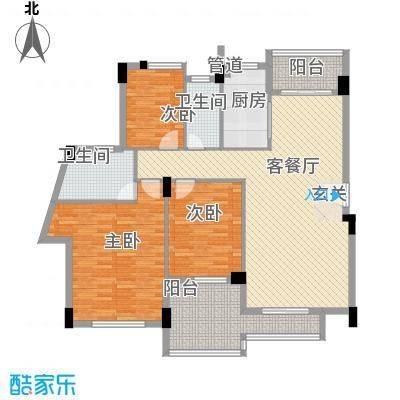 海逸锦绣桃园户型图08-02层02单位  3室2厅