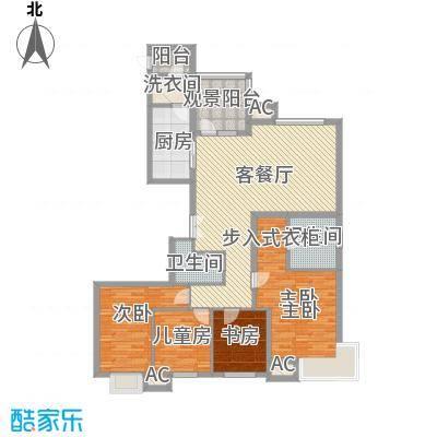 太原富力现代广场户型图8#楼户型二 4室2厅2卫1厨