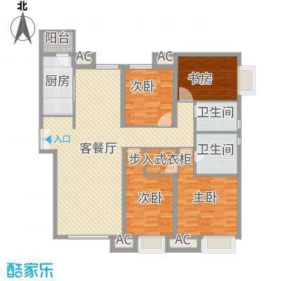 太原富力现代广场户型图1#楼1单元01 4室2厅2卫1厨