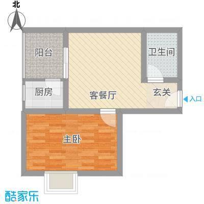 裕峰花园户型图B户型52.23平米在售 1室1厅1卫1厨