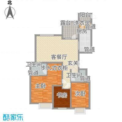 太原富力现代广场户型图8#楼户型一 3室2厅2卫1厨