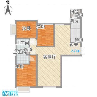 太原富力现代广场户型图1#楼二单元03户型 3室2厅2卫1厨