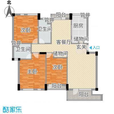长城都市阳光户型图户型图 3室2厅2卫1厨
