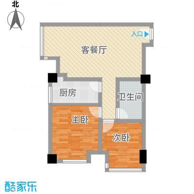 金东中环城户型图4#(中环红)E户型 2室1厅1卫1厨
