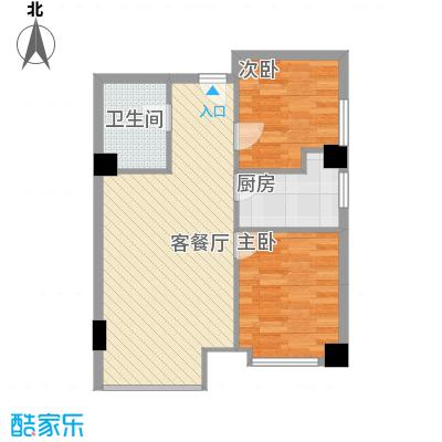 金东中环城户型图4#(中环红)F户型 2室1厅1卫1厨