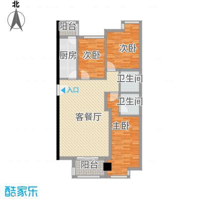 金东中环城户型图4#(中环红)H户型 3室1厅2卫1厨