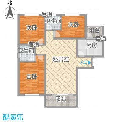 唐山万达广场户型图G6户型 3室2厅2卫1厨