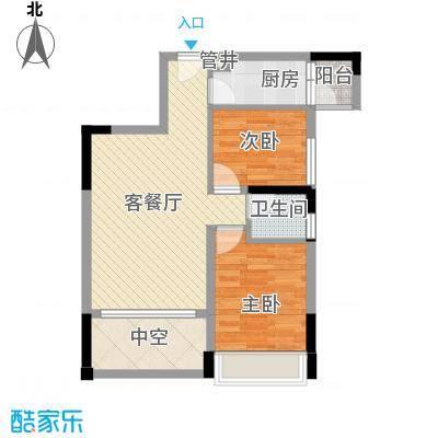 香缤雅苑户型图5、6栋标准层1/2单元0102户型 2室2厅1卫1厨