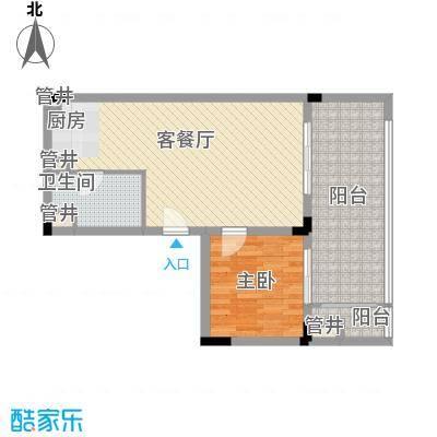 阳光半山森景户型图15 蝶恋花居单位 1室1厅1卫1厨