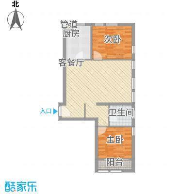 紫金广场户型图F户型 2室2厅1卫1厨