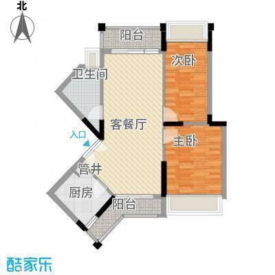 香缤雅苑户型图10栋2单元标准层04户型 2室2厅1卫1厨