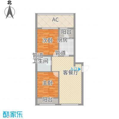 紫金广场户型图D'户型 2室2厅1卫1厨